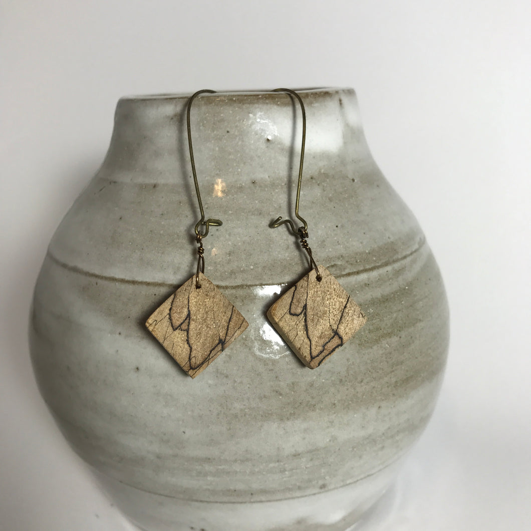 Spalted Maple Diamond Dangles