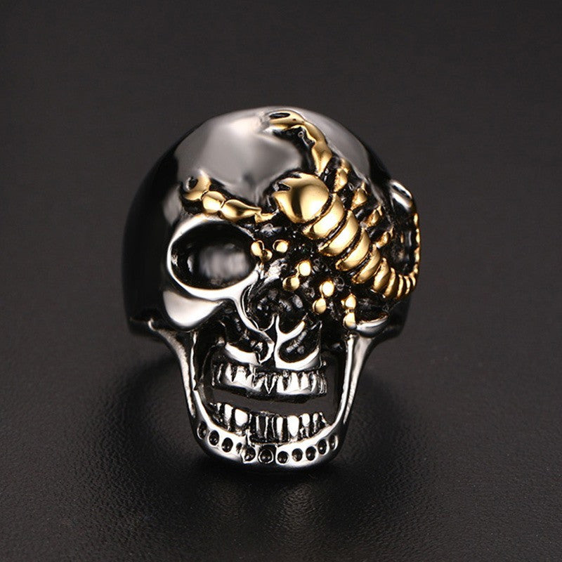 Mens Skull Bone Gothic Rings With Gold Color Scorpion