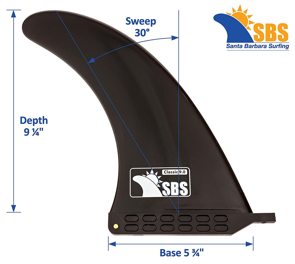 "SBS - 9"" Longboard & SUP Single Fin - Center Fin for Surfboards & Paddleboards"
