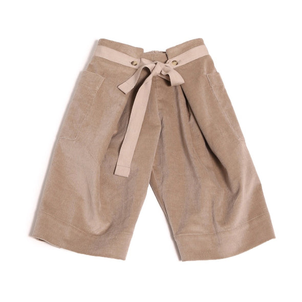 Paper Bag Crop Trousers In Pebble