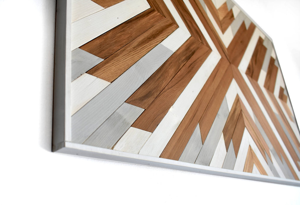 Cedar Geometric, Large Modern Wood Wall Art – Ethos Woodworks