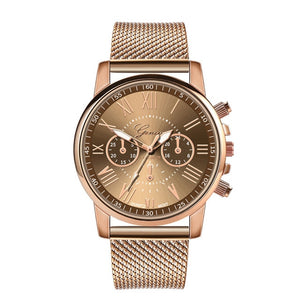 Ladies Luxury Quartz Military Stainless Steel Leather Band Wrist Watch