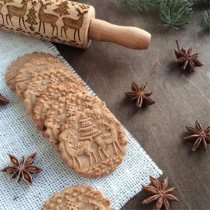 3D Wooden Christmas Cookie Roller