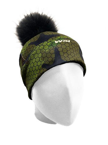Hexa Camo Hat w/ Removable Raccoon Pom Pom Women's Performance Gear WSI Sports