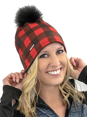 Buffalo Plaid Beanie Hat w/ Removable Pom Pom