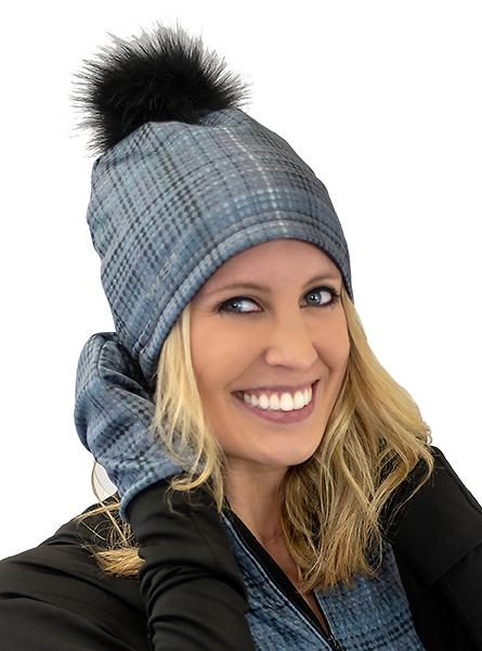 Polar Plaid Beanie Hat w/ Removable Pom Pom