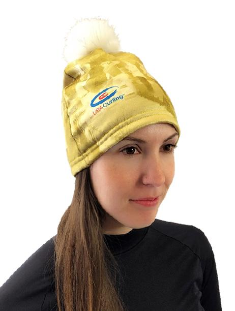 USA Curling Beanie Hat w/ Removable Pom Pom Women's Performance Gear WSI Sports