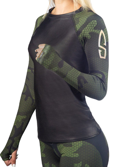 Bullet Hexa Camo Rash Guard Long Sleeve Top