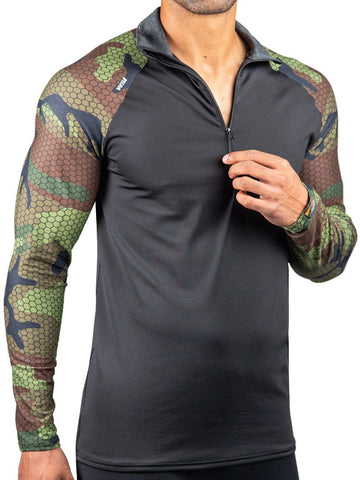 1/2 Zip Ridge HEATR® Pullover HEATR® WSI Sportswear - Made in USA cold weather warming camo shirt