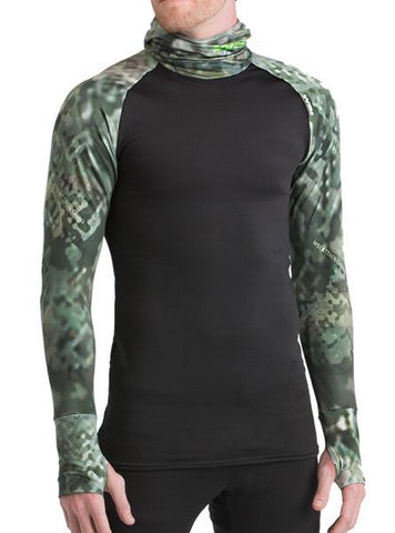 Attack Camo HEATR® Built In Hooded Shirt Long Sleeve Shirts WSI Sports - Made in USA cold weather shirt with hood and thumb holes