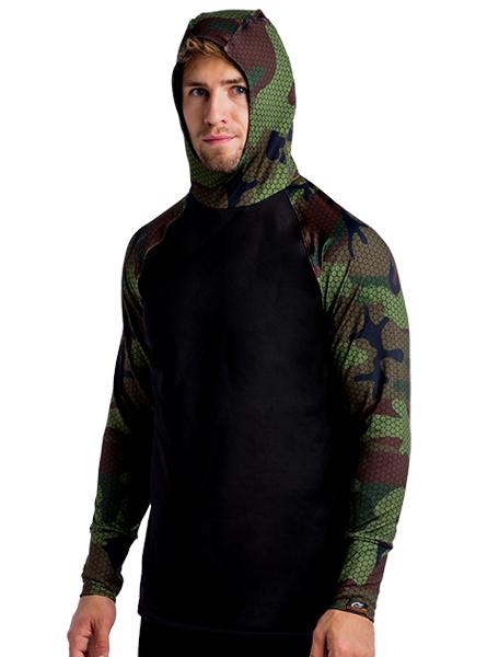 ProWikmax® Built In HEATR® Hooded Shirt Long Sleeve Shirts WSI Sports S HEXA CAMO