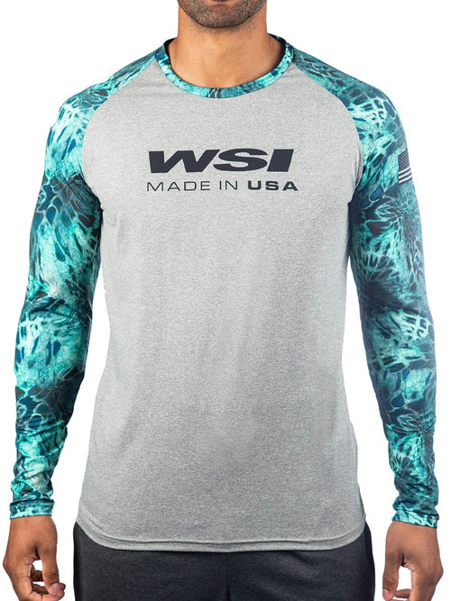 2 Tone Heather Grey Long Sleeve Raglan Typhoon Prym1 WSI Sportswear - Men's cold weather warming shirt Made in USA