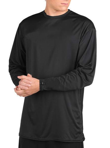 Microtech™ Loose Fit Long Sleeve Shirt Men's Performance Gear WSI Sports YM BLACK