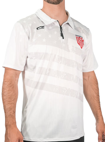 USA Mesh 1/4 Zip Polo Short Shirt Men's Performance Gear WSI Sports