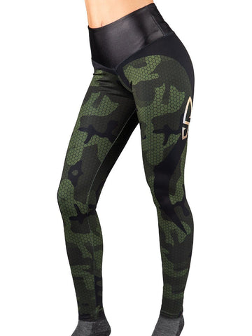 Bullet Hexa Camo Leggings Women's Performance Gear WSI Sportswear - Made in USA Valentina Shevchenko line