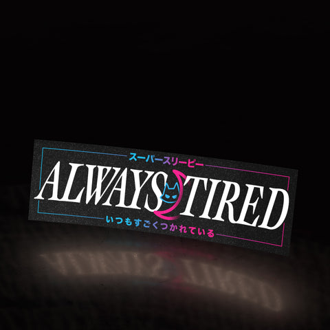 always tired - moon cat (sticker) - triple cat deluxe