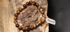 christian jewelry natural stone bracelet tigers eye