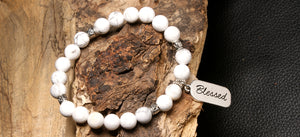 christian jewelry natural stone bracelet white