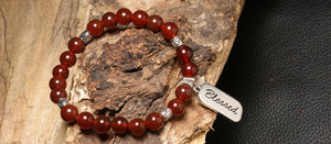 christian jewelry natural stone bracelet red