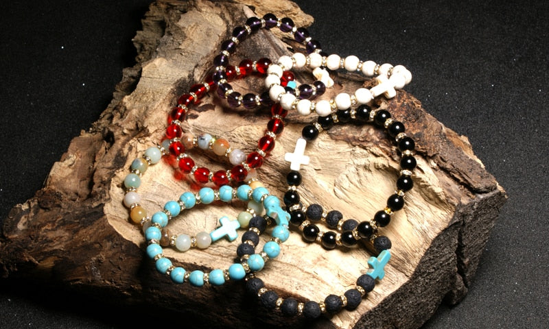 natural stone bracelet cross christian jewelry - Faith + Fashion