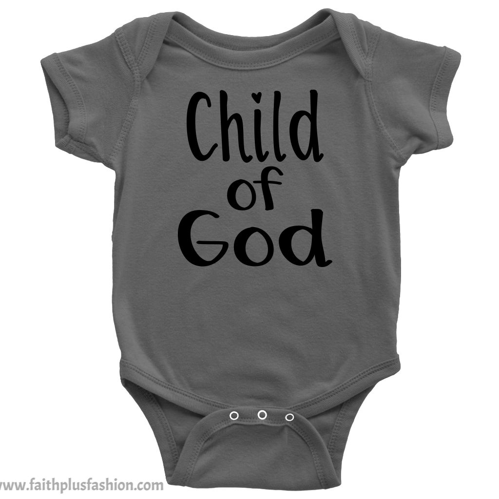 Christian Baby Onesie - Child of God - Dark Gray - Faith + Fashion