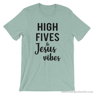High Fives & Jesus Vibes Short-Sleeve Unisex T-Shirt - Heather Prism Dusty Blue / S - T-Shirt