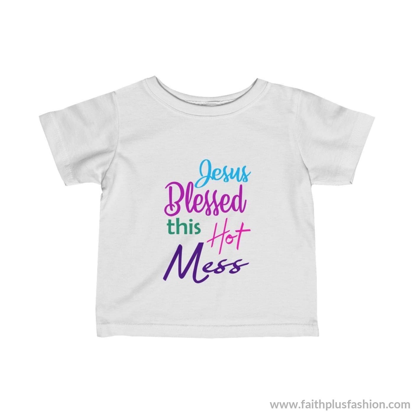 Jesus Blessed This Hot Mess Infant Fine Jersey Tee - White / 18M - Kids Clothes