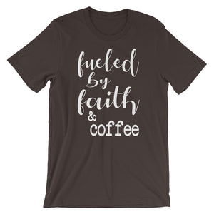 Fueled By Faith And Coffee Christian Shirt - Brown / S