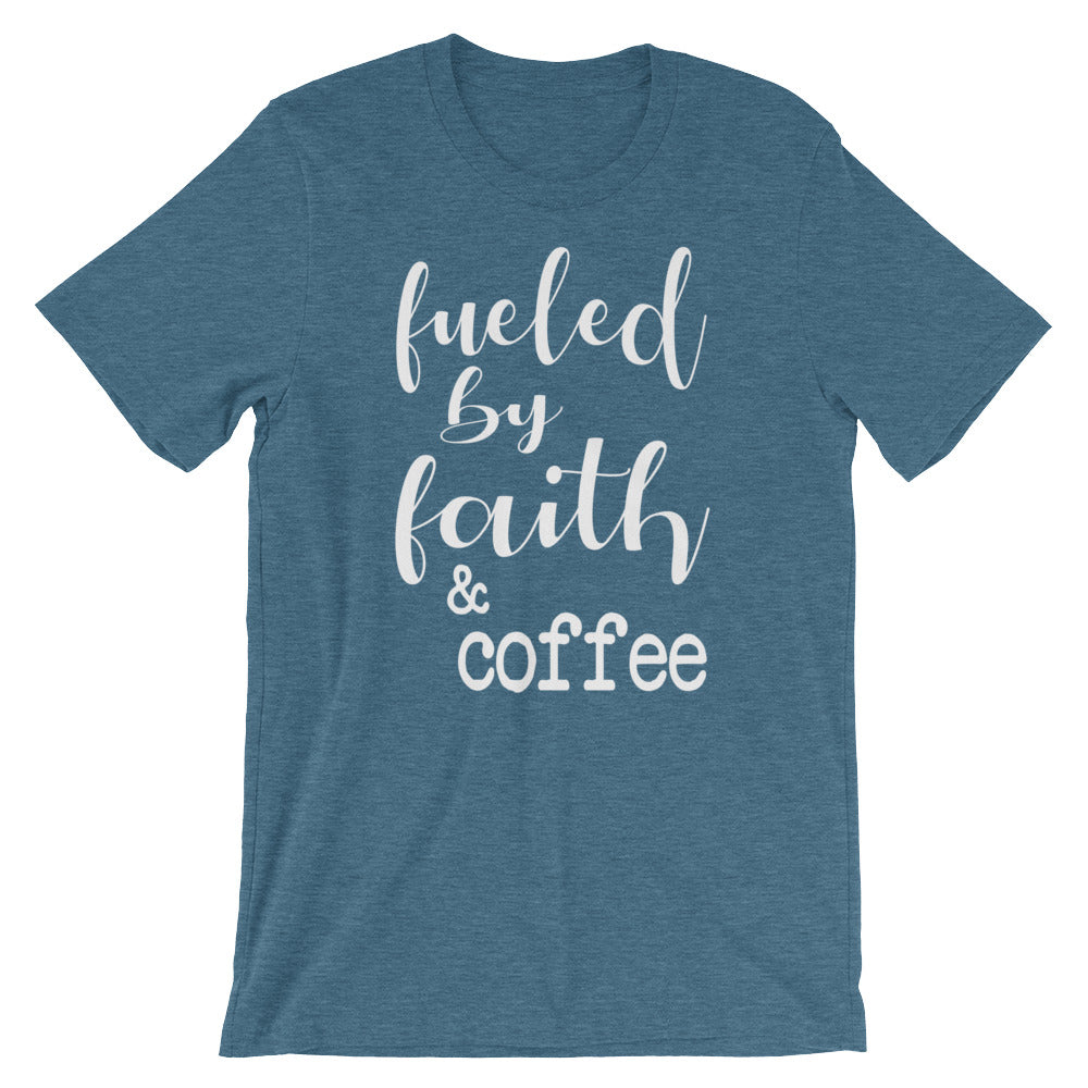 Fueled By Faith And Coffee Christian Shirt - Heather Deep Teal / S