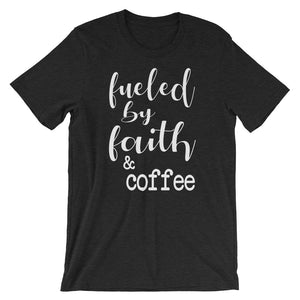 Fueled By Faith And Coffee Christian Shirt - Black Heather / Xs