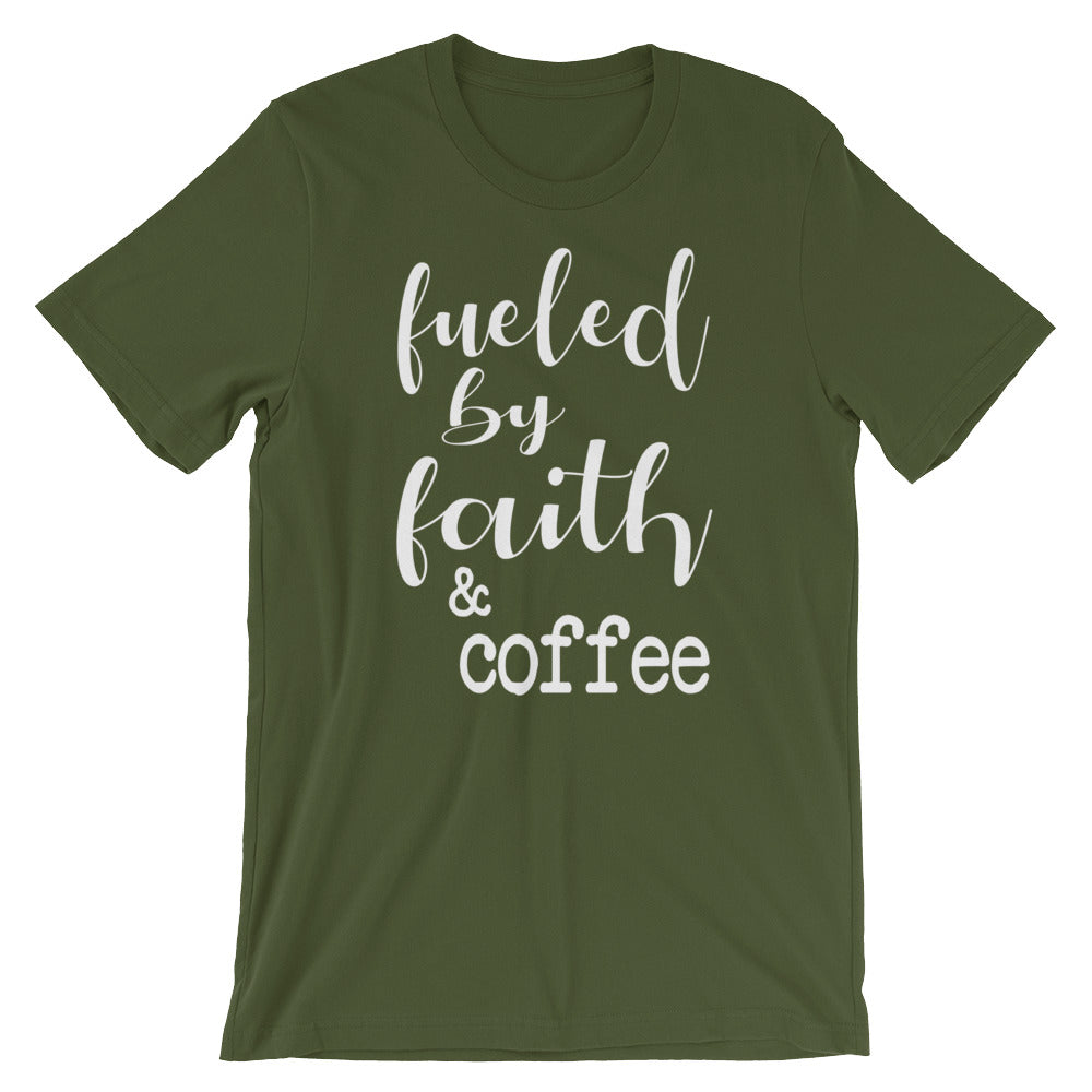 Fueled By Faith And Coffee Christian Shirt - Olive / S