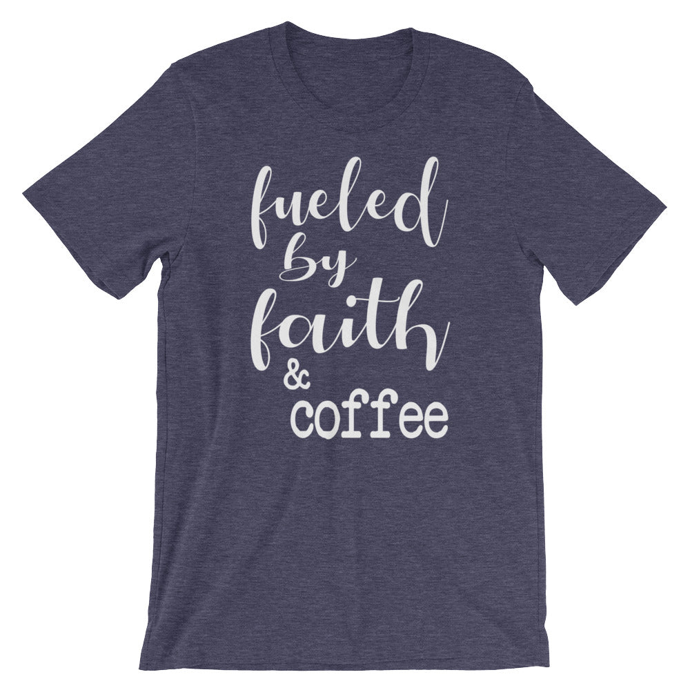 Fueled By Faith And Coffee Christian Shirt - Heather Midnight Navy / Xs