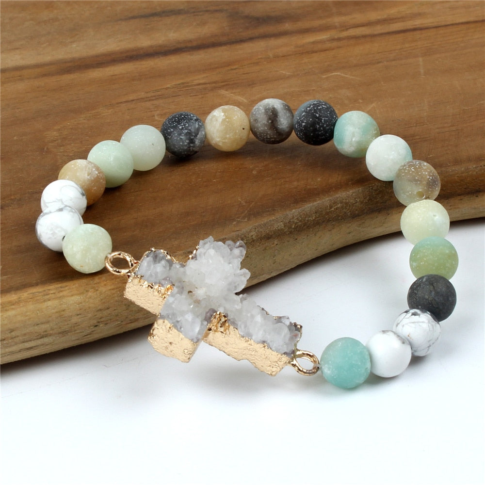 natural stone christian bracelet - amazonite bracelet - cross bracelet - Faith + Fashion