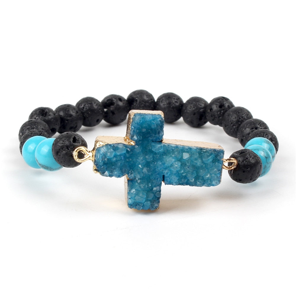 Natural Lava Stone Cross Essential Oil Bracelet