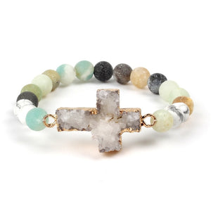 Natural Stone Bracelet - Christian Bracelet- Amazonite - Christian Jewelry - Faith + Fashion