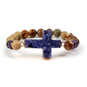 Natural Stone Bracelet - Christian Druzy Jewelry - Amethyst - Cross Bracelet - Faith + Fashion