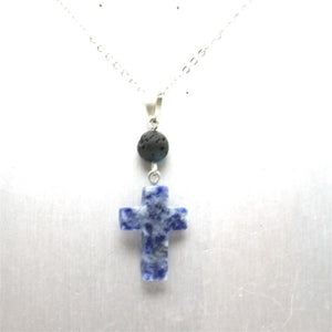 Natural Stone Cross Lava Bead Essential Oil Diffuser Necklace
