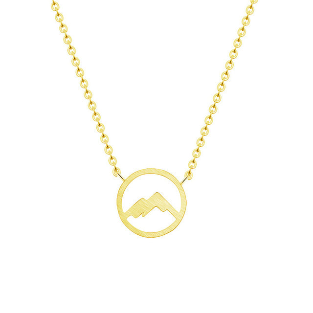 gold christian mountain necklace