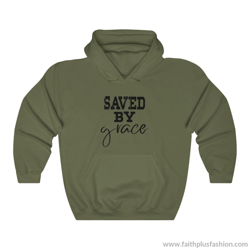 Saved By Grace Unisex Christian Hoodie - Military Green / L - Hoodie