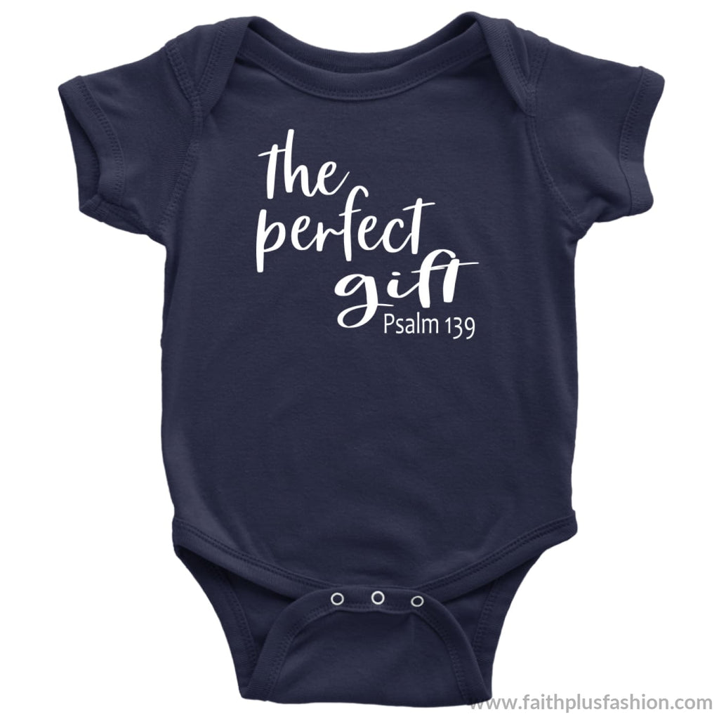 The Perfect Gift Custom Christian Baby Onesie - Baby Bodysuit / Navy / Nb - Baby Bodysuit