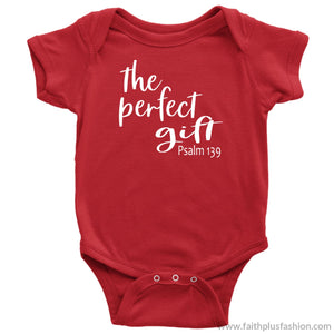 The Perfect Gift Custom Christian Baby Onesie - Baby Bodysuit / Red / Nb - Baby Bodysuit