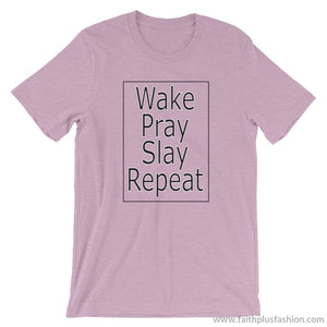 Wake Pray Slay Repeat Unisex T-Shirt - Heather Prism Lilac / S