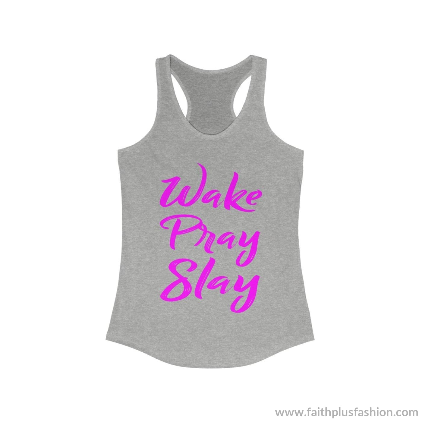 Wake Pray Slay Womens Christian Tank Top - 90/10 Heather Gray / Xs - Tank Top