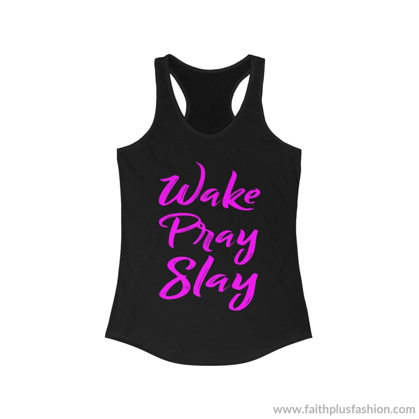 Wake Pray Slay Womens Christian Tank Top - Solid Black / Xs - Tank Top