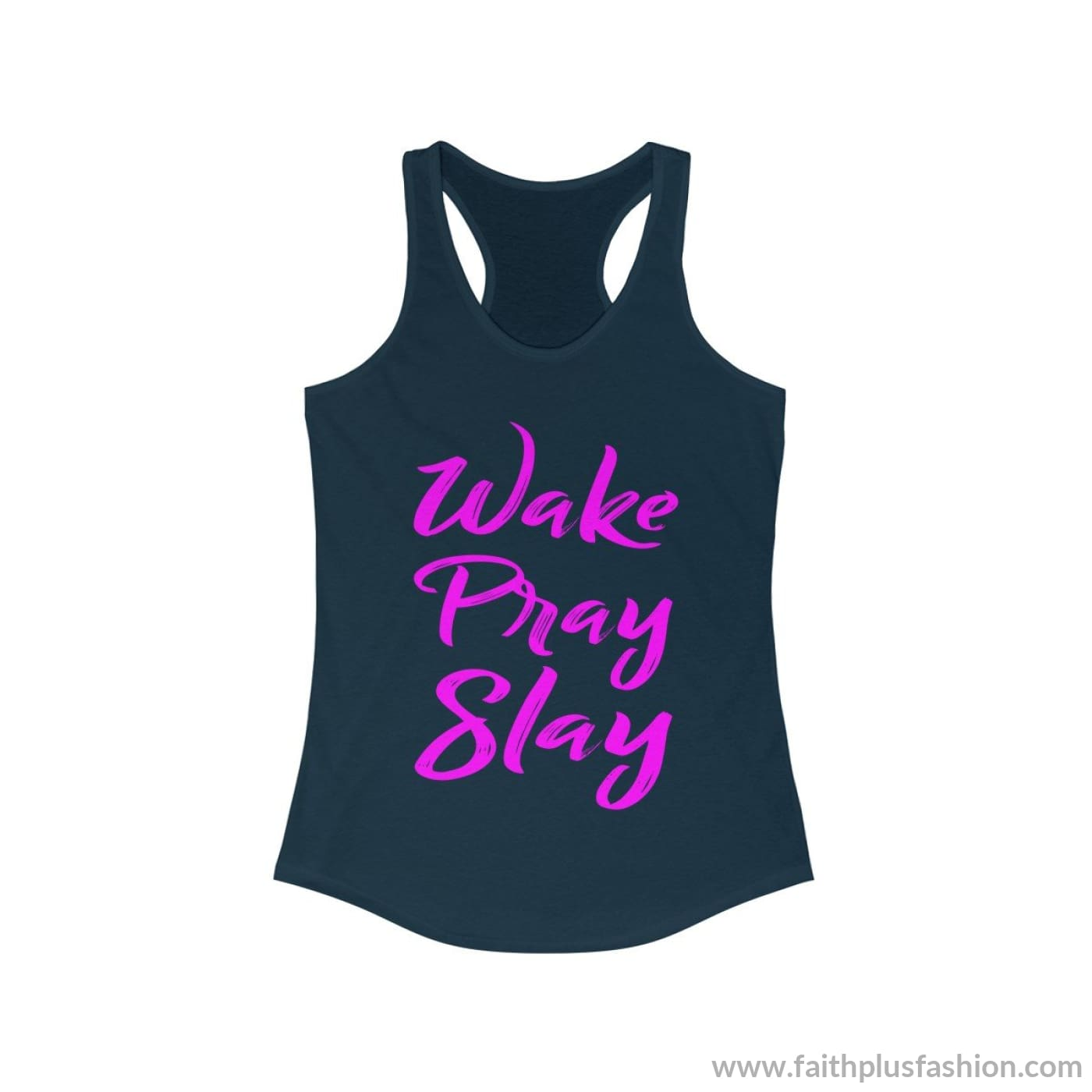 Wake Pray Slay Womens Christian Tank Top - Solid Midnight Navy / L - Tank Top