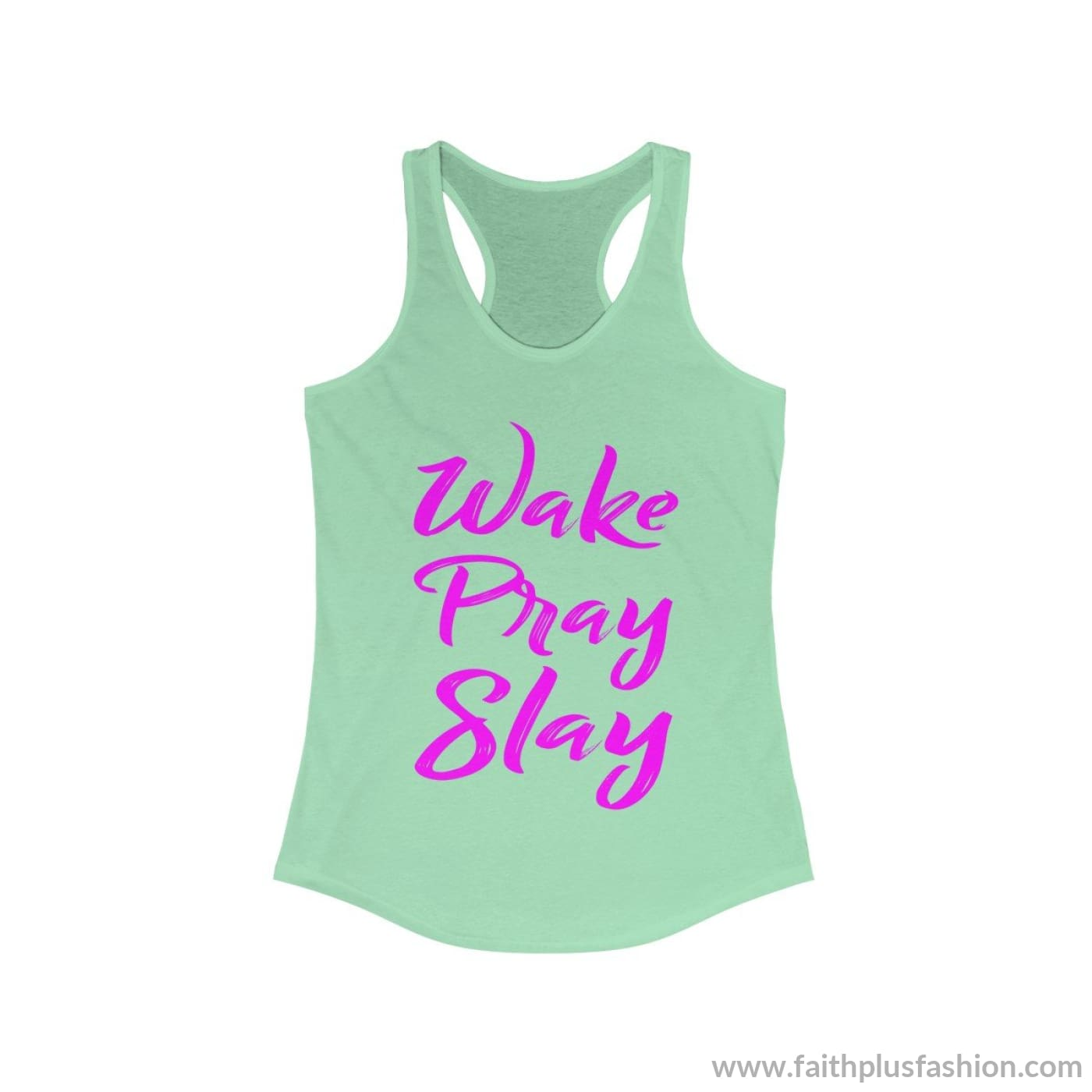 Wake Pray Slay Womens Christian Tank Top - Solid Mint / Xs - Tank Top