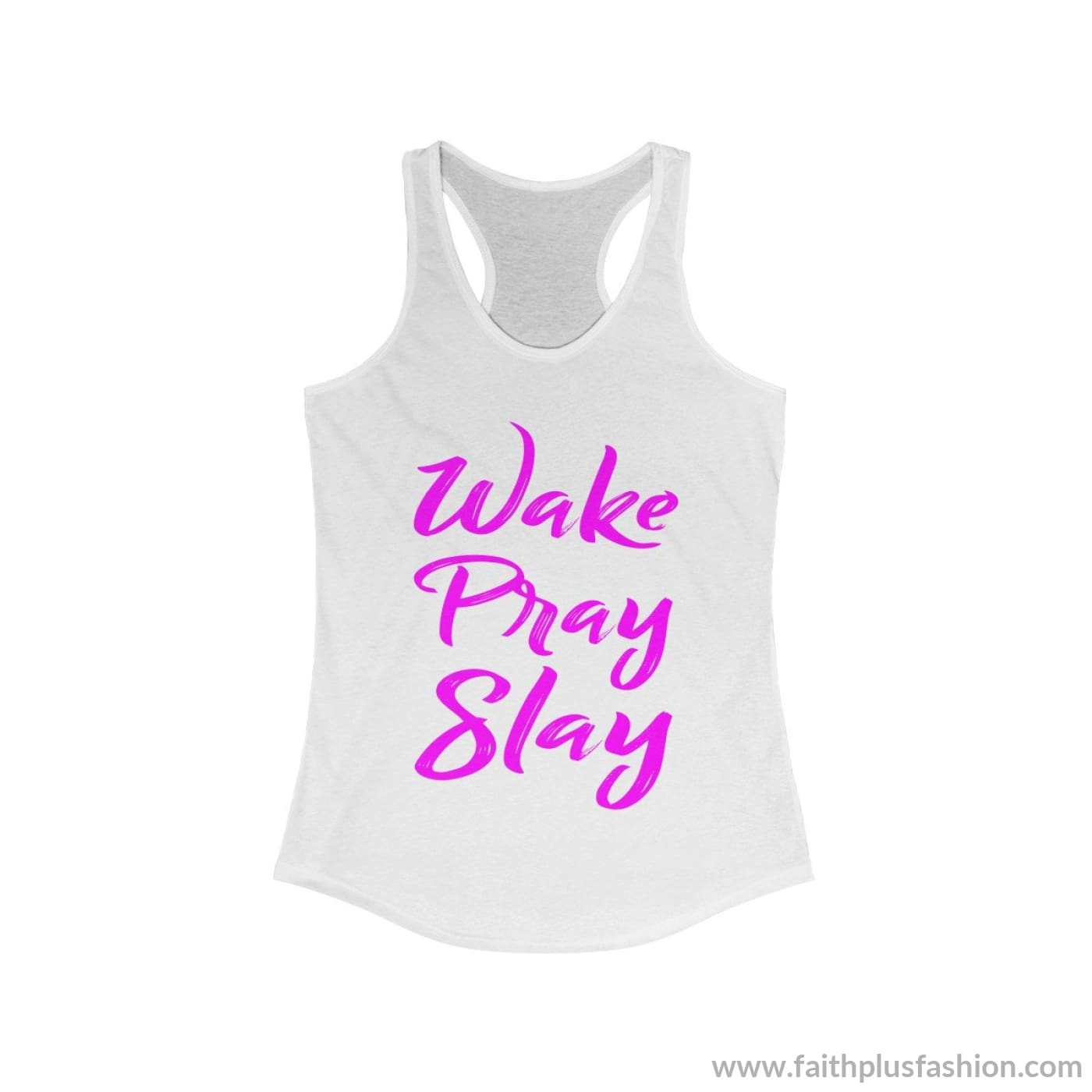Wake Pray Slay Womens Christian Tank Top - Solid White / Xs - Tank Top