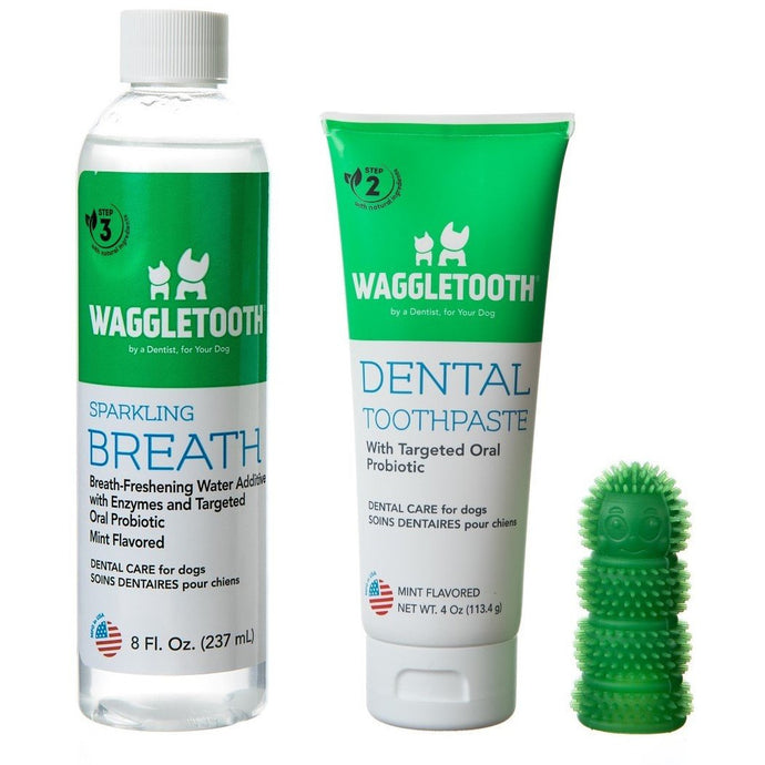 3-Step Dog Dental Care Kit: Toothbrush, Toothpaste, and Water Additive