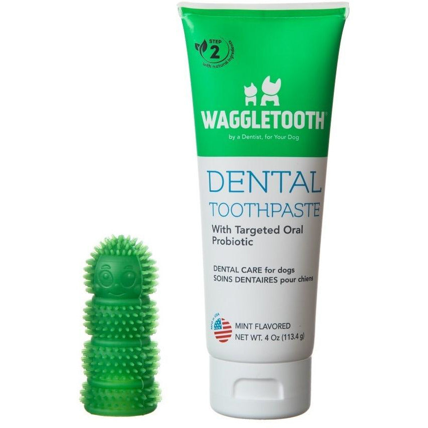 2-Step Dog Dental Care Kit: Toothbrush & Dental Toothpaste with Probiotics