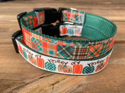 Pumpkins and Plaid Dog Collars